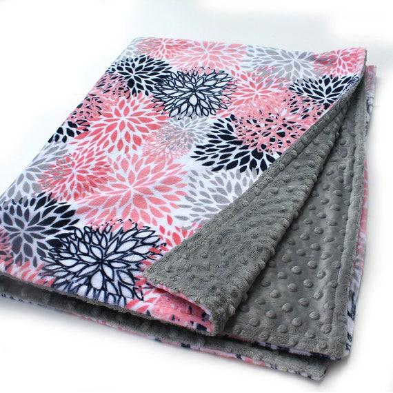 Baby Girl Blanket, Floral Baby Blanket, Navy Coral Minky Baby Blanket, Nursery Decor, Receiving Blanket Name Baby Blanket Personalized Gifts