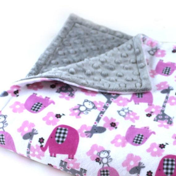 Elephant Baby Lovey Blanket, Personalized Baby Blanket Girl, Pink Silver Gray Animal Minky Blanket, Baby Shower Gift, Baby Girl