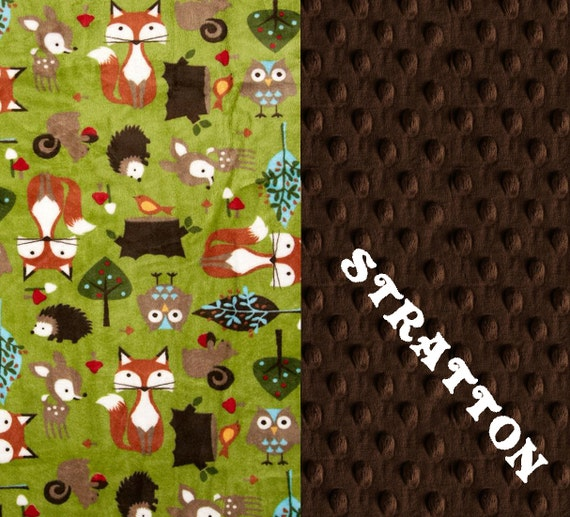 Woodland Minky Blanket, 60 x 70 Personalized Blanket / Brown Green Animal Adult Minky Blanket / Twin Blanket / Minky Throw Blanket