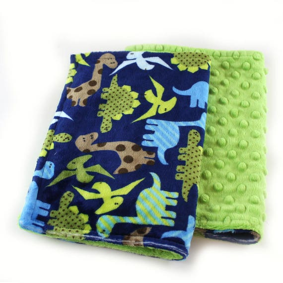 Green Dinosaurs Minky Baby Mini Lovey Blanket Baby Boy, Baby shower gift, Newborn Lovey Gift, security blanket, Boy Lovey, Name Blanket