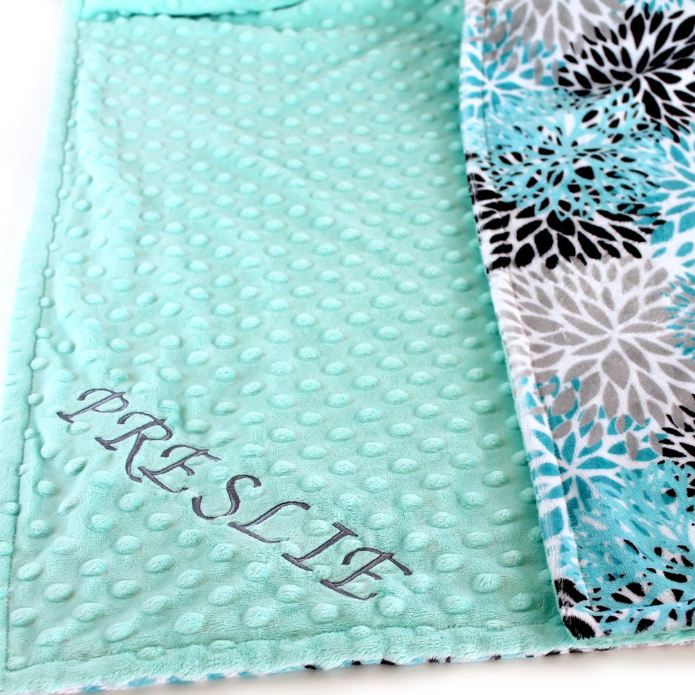 teal personalized blanket 48 x 60 girl toddler blanket minky