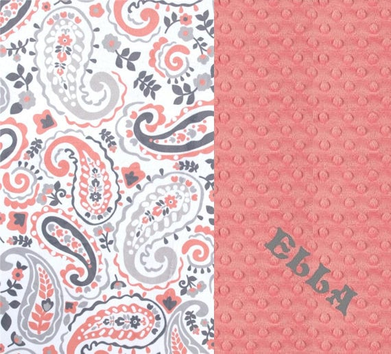 Personalized Baby Blanket Girl, Minky Baby Blanket, Gray Coral Paisley, Nursery Decor, Coral Baby Blanket, Name Baby Blanket, Baby Gift