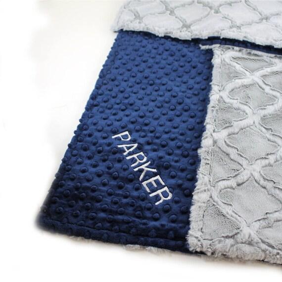 Personalized baby Blanket, Baby Gift, Kids Minky Baby Blanket Boy, Geometric Blanket, Receiving Blanket, Name Baby Blanket Baby Shower Gift