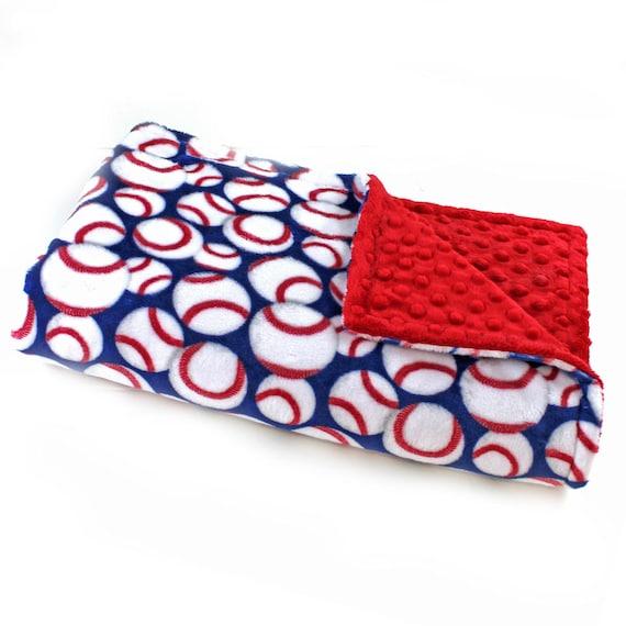 Baseball Baby Blanket, Blue Baseball Blanket, Crib Bedding, Kids Minky Blanket, Personalized Gift, Minky Throw Blanket, Baby Boy