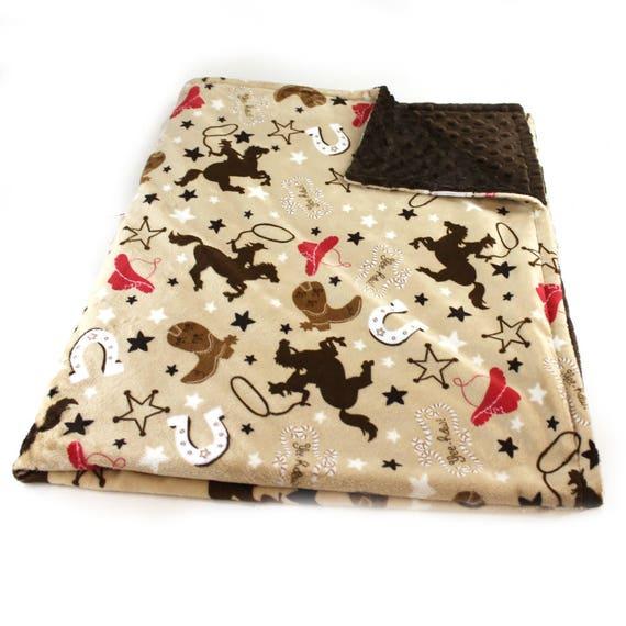 Personalized Baby Blanket, Cowboy Minky Baby Blanket Boy, Red Brown Western Cowboy Blanket, Baby shower Gift, Kids Minky Blanket