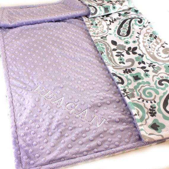 Personalized Baby Blanket Minky Baby Blanket Girl Gray Lavender Mint Paisley - Nursery Decor / Mint Baby Blanket / Name Baby Blanket
