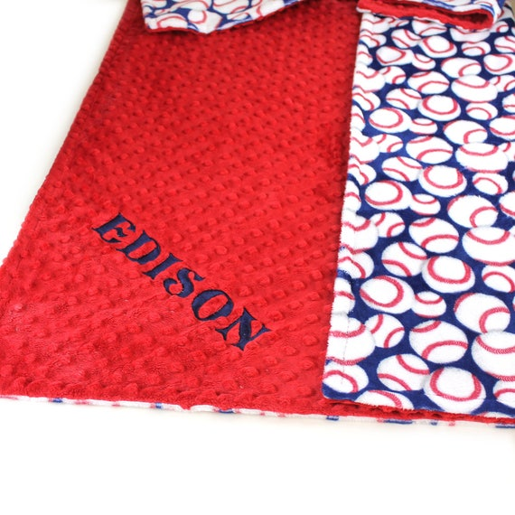 Baseball Baby Blanket boy, Personalized Baby Blanket Minky, Blue Baseball Baby Blanket, Name Baby Blanket Receiving Blanket Baby shower Gift