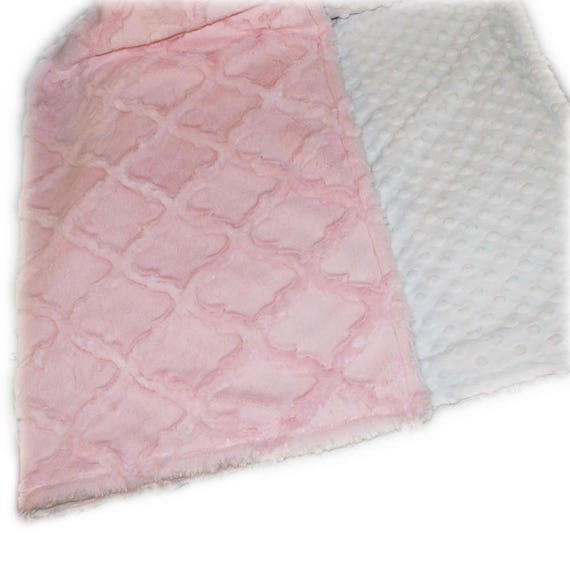 Minky Adult Blanket Personalized Blanket - White Pink Throw - Twin Size / Lattice Blanket / Soft Blanket / Geometric Blanket / Minky Blanket