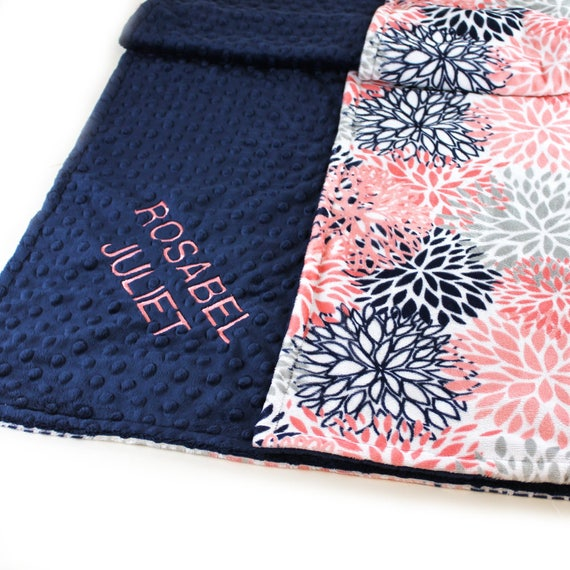 Baby Blanket Girl, Personalized Baby Minky Blanket, Navy Coral Flowers Nursery Decor, Floral Name Baby Blanket, Coral Baby Blanket, Floral
