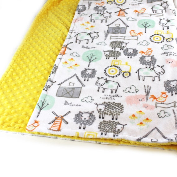 Farm Blanket, 48 x 60 Boy Toddler Blanket, Minky Blanket, Green Yellow Personalized Blanket, Cow Blanket, Kids Minky Blanket, Gift