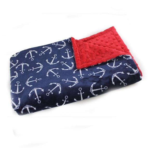 Baby Blanket Boy , 42 x 55 Minky Baby Blanket Personalized Baby Blanket Blue Anchors Crib Bedding / Kids minky blanket  Personalized Gift