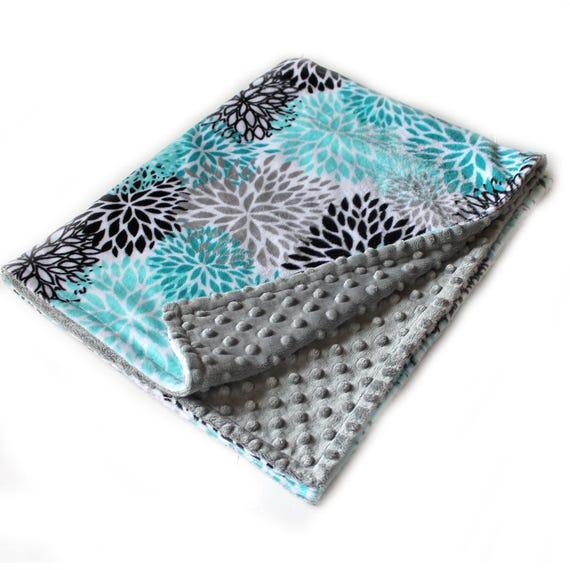 Baby Blanket Baby Girl, 42 x 55 Minky Blanket, Floral Baby Blanket, Personalized Baby Blanket, Teal Baby Blanket, Crib Blanket, Name Blanket