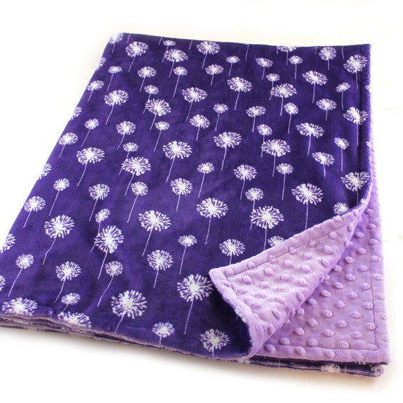 Purple Floral Baby Blanket, Dandelion Personalized Baby Blanket, Minky Baby Blanket, Nursery Decor, Name Baby Blanket Baby Gift Kids Blanket