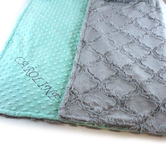 Baby Girl Minky Baby Blanket, Mint Gray Personalized Baby Blanket, Geometric Blanket, Baby shower Gift, Name Baby Blanket Kids Minky Blanket