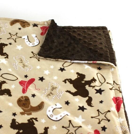Boy Lovey, Brown Cowboy Blanket, Mini Personalized Baby Blanket Boy, Baby Lovey Minky Blanket, Baby Shower Gift, Personalized Blanket