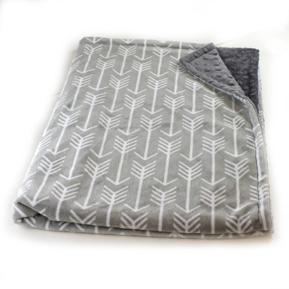 Personalized Minky baby blanket Boy, Gray Arrow Baby Blanket, Custom Baby Gift, Receiving Blanket, Monogrammed Blanket, Nursery