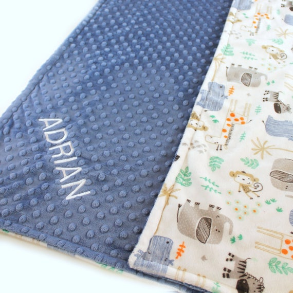 Personalized Blanket, Baby Boy Minky Baby Blanket, Baby Gift, safari Blue Gray Jungle Animal Blanket, Custom Baby Blanket, Baby Boy Gift