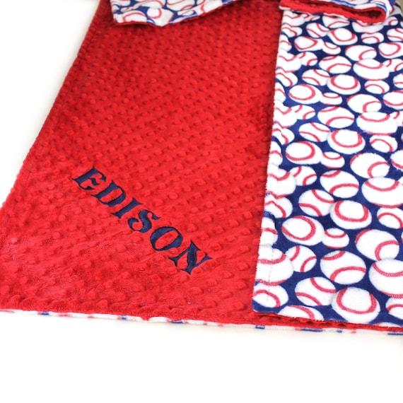 Toddler Blanket, Blue Baseball Blanket, 48 x 60 Kids Minky Blanket, Personalized Blanket Boy, Minky Throw Blanket, Personalized Gift