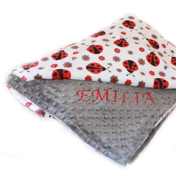 Toddler Blanket Ladybug, 48 x 60 Kids Minky Blanket, Personalized Blanket, Minky Throw Blanket Personalized Gift, Girl Blanket,