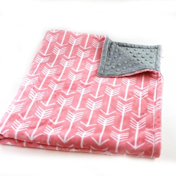 Arrow Blanket Kids Minky Blanket, 42 x 55  Coral Arrow Personalized Baby Blanket Crib size, Gray Coral Baby Blanket Custom Blanket Baby Gift