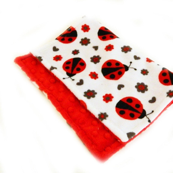 Red Ladybug Baby Lovey, Mini Minky Baby Blanket, Girl Personalized Baby Blanket, Minky Burp Cloth,  Baby Gift, security Blanket