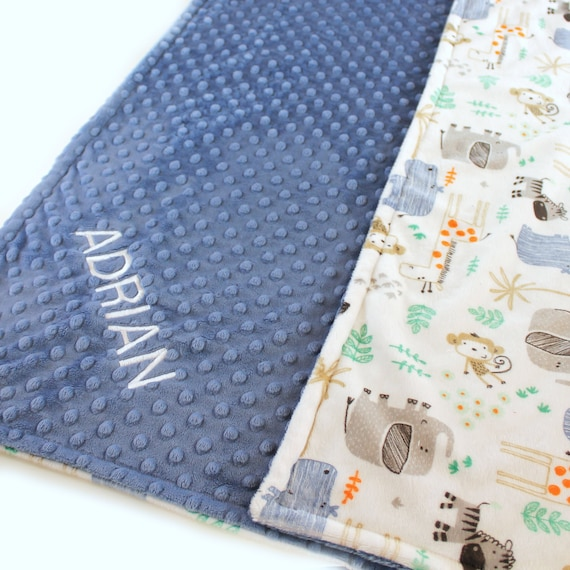 Zoo Animal Blanket, 42 x 55 Crib Bedding, White Blue Minky Baby Blanket, safari Personalized Blanket Boy, Kids Minky Blanket, Throw Blanket