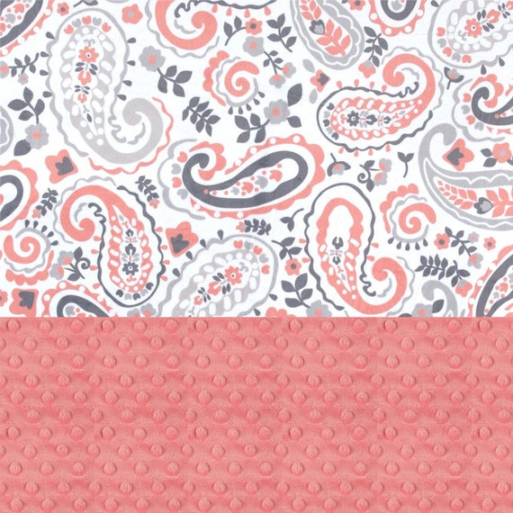 Paisley Girl Lovey, Personalized Baby Blanket Girl, Minky Baby Blanket, Coral Gray Paisley Blanket, Mini Baby Blanket, Baby Girl Gift