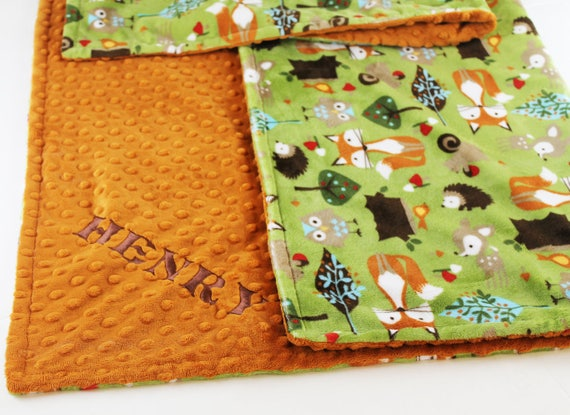 Personalize Baby Blanket, Woodland Blanket, Animal Blanket Baby Boy, Green Fox Baby Blanket, Woodland Minky Baby Blanket, Kid Minky Blanket