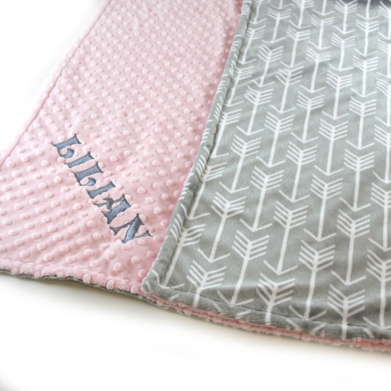 Pink Gray Arrow Toddler Blanket, 48 x 60 in Personalized Blanket, Kids Minky Blanket Boy, Minky Throw Blanket, Silver Gray Arrow Blanket