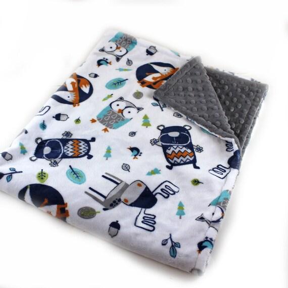 Personalized Baby Blanket Boy, Woodland Nursery, Woodland Minky Blanket, Name Baby Blanket, Baby shower gift Fox Baby Blanket Baby Gift