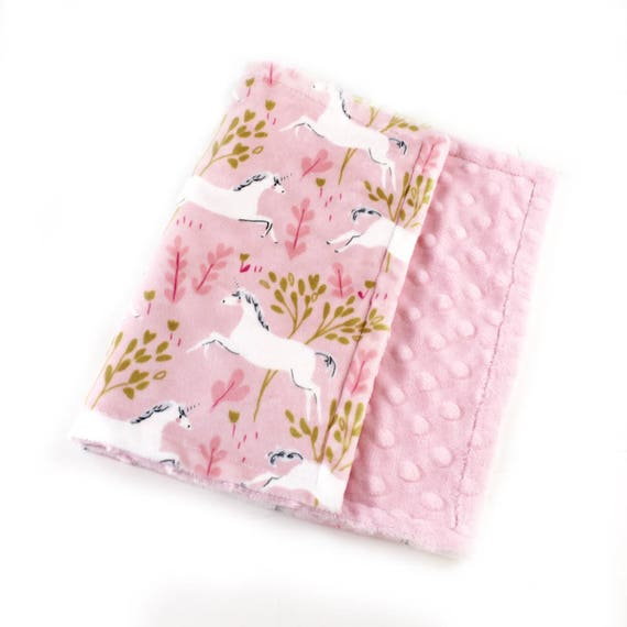 Baby Girl Unicorn Baby Lovey, Minky Baby Blanket Lovey, Personalized Baby Blanket, Pink Unicorn Blanket, Burp Cloth, Baby gift