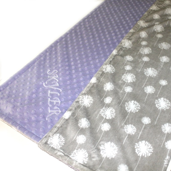 Personalized Baby Blanket For Girl, Minky Baby Blanket,Gray Lavender Flower Blanket, Dandelion Blanket, Soft Baby Blanket