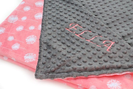 Coral Minky Baby Blanket, Floral Personalized Baby Blanket Girl Gray Coral Flower, Baby Shower Gift, Dandelion kids Minky Blanket