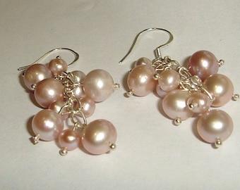 Sterling Silver clusters of Lustrous lavender pink dangle freshwater pearl earrings