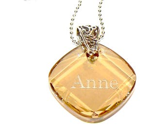 Swarovski sterling silver Necklace, Anne, womans, topaz, statement, elegant, modern, fashion, bohemian, rocker, minimalist, Free shipping!