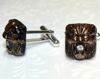 Mens Cufflinks, Sterling silver, Antique glass, handmade, lions, Lissie Design, gift for him, dad, boho, rocker, gothic, free shipping