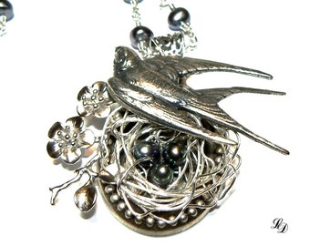 NEW! Womans nest necklace, mother, grandmother, freshwater pearls, swallow, boho, wire wrapped, handmade, birds nest, free shipping