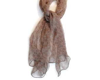 NEW! Chiffon silk scarf, womans, hand sewn, unique, elegant,  boho, rocker, accessorie, brown, grey, silk , free worldwide shipping!