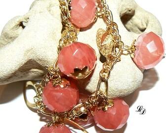 Womans gold vermeil Bracelet, 14 k gold filled,  Cherry Quartz, boho, elegant, wire wrapped, peach, unique piece, beaded - Free shipping!