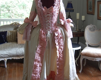 b1327d72bb98 Pink and cream Silk and satin Marie Antoinette Victorian inspired rococo  costume dress halloween 25 to 26 waist