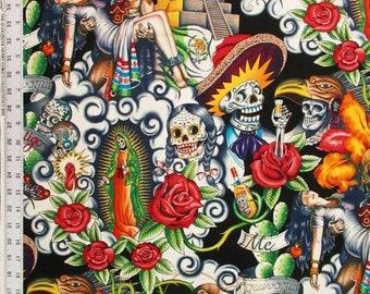 Contigo Tea Dyed Alexander Henry Fabrics  cotton Folklore Skulls 7204/B By the Yard/ Half Yard- Black Background