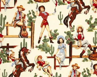 Alexander Henry Fabric Vintage Pin Up Cowgirls- FROM THE HIP Parchment