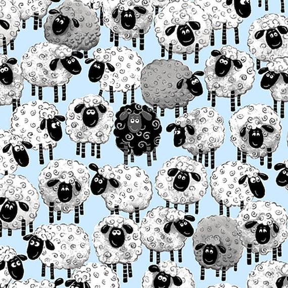 Susybee Allover Print Sheep Ewe Fabric- Lewe The Ewe- So Cute! Blue  Background