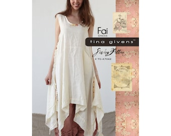 FAI Dress TG-A7042 Sewing Pattern By Tina Givens- Lagenlook Style! XS- 2X