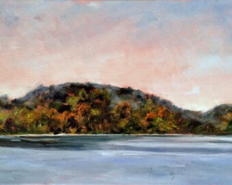 Painting Landscape, Autumn Painting, Original Art, Lake Painting, Lakeview, Home Decor, Wall Art