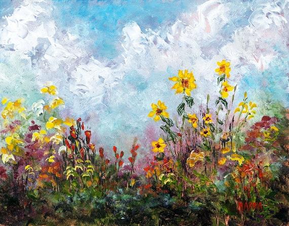 Landscape Flower Garden Painting Original Art Flower Etsy
