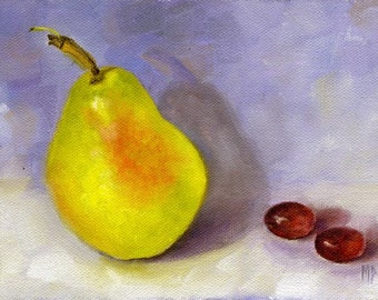 Original Painting Pear, Kitchen art, Still life painting, kitchen decor, oil painting, Wall decor