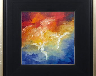 Guardian Angel Print Framed, Angel Print, Spiritual Religious Art, Wall Art, Angel Decor, Angels Descent