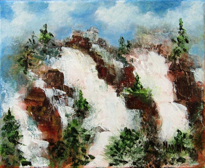 Waterfall Landscape Painting Plein Air Original Landscape image 0
