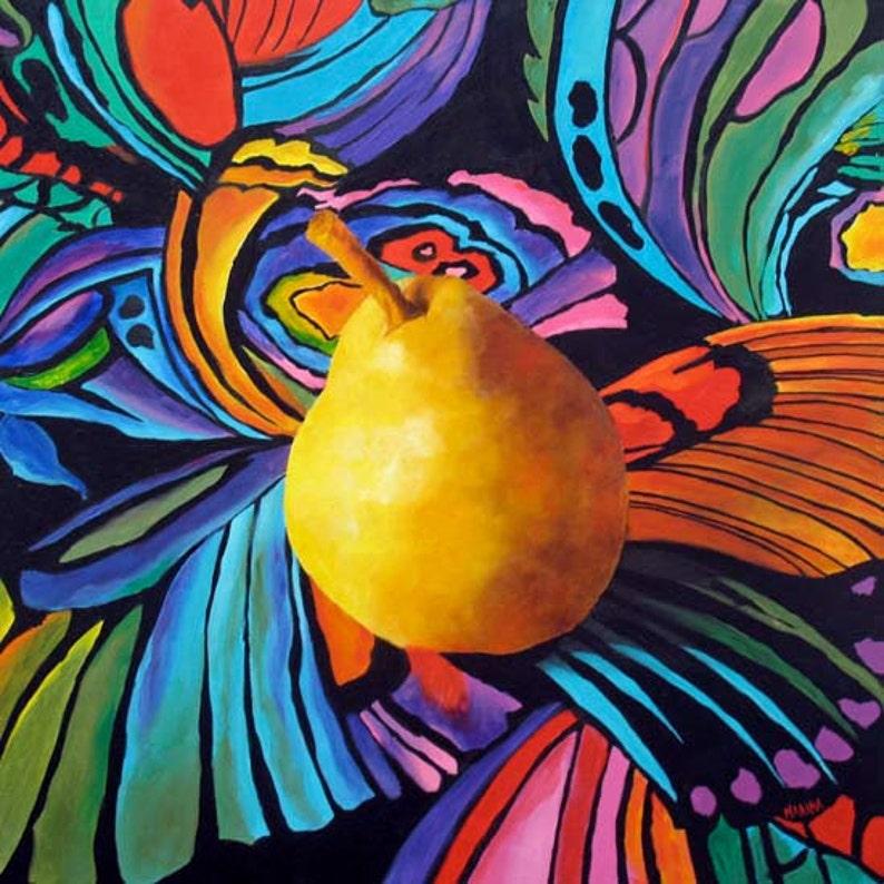 Original Painting Pear Kitchen art Still life painting Wall image 0